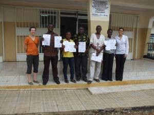 Picture 6: Left to Right: Molly Freeman, Ahmed Foray Samba, Musu Abu, Slyvester Kamanda, Dr Abdual Kamara, Fay Rhodes and Marie Anne Chattaway. Other staff who participated and not in this photo include Eric Sefoi and Doris Harding.